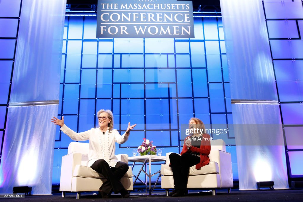 Actor Meryl Streep (L) and activist Gloria Steinem speak during the Massachusetts Conference for Women 2017 at the Boston Convention Center on December 7, 2017 in Boston, Massachusetts.