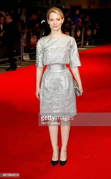 Actor Mia Wasikowska attends the red carpet arrivals of 'Madame Bovary' during the 58th BFI London Film Festival at Odeon West End on October 11 2014...