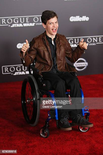 Actor Micah Fowler arrives at the premiere of Walt Disney Pictures and Lucasfilm's 'Rogue One A Star Wars Story' at the Pantages Theatre on December...