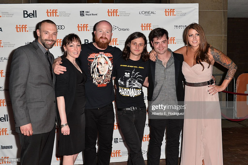 Actor Michael A. LoCicero, actress Susan T. Travers, actor Josh Ethier, director Joe Begos, actor Graham Skipper and actress Vanessa Leigh arrive at the 'Almost Human' Premiere during the 2013 Toronto International Film Festival at Ryerson Theatre on September 10, 2013 in Toronto, Canada.