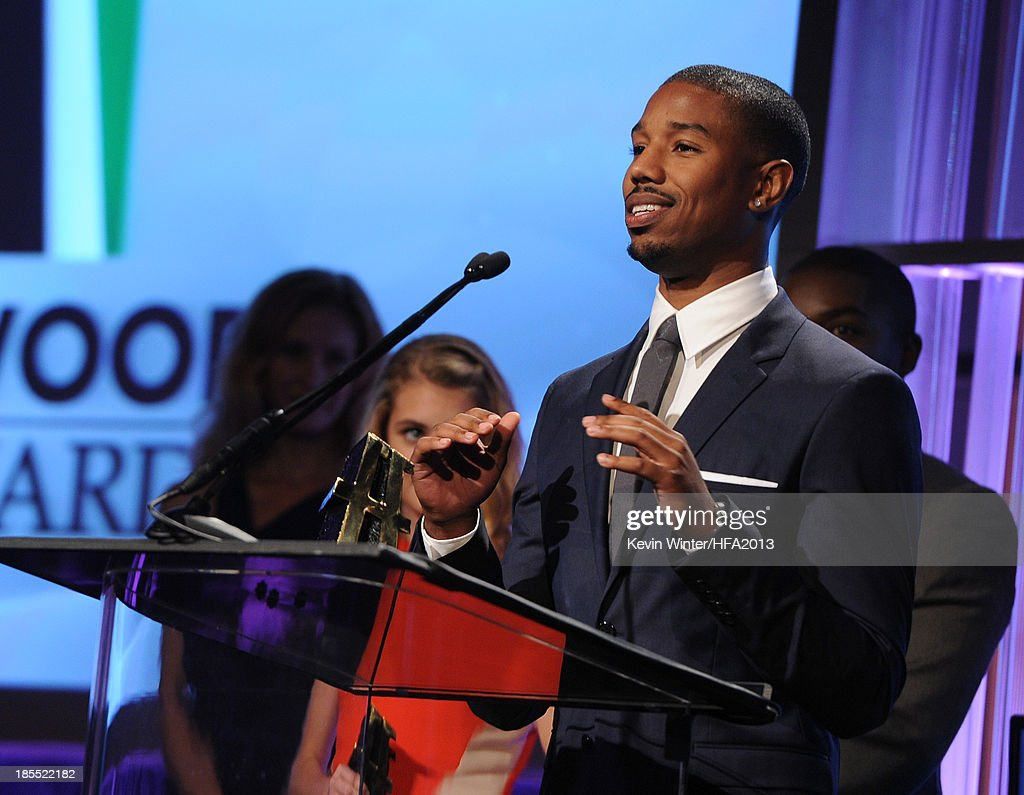 Actor Michael B. Jordan accepts the Hollywood Spotlight Award for 'Fruitvale Station' onstage during the 17th annual Hollywood Film Awards at The Beverly Hilton Hotel on October 21, 2013 in Beverly Hills, California.