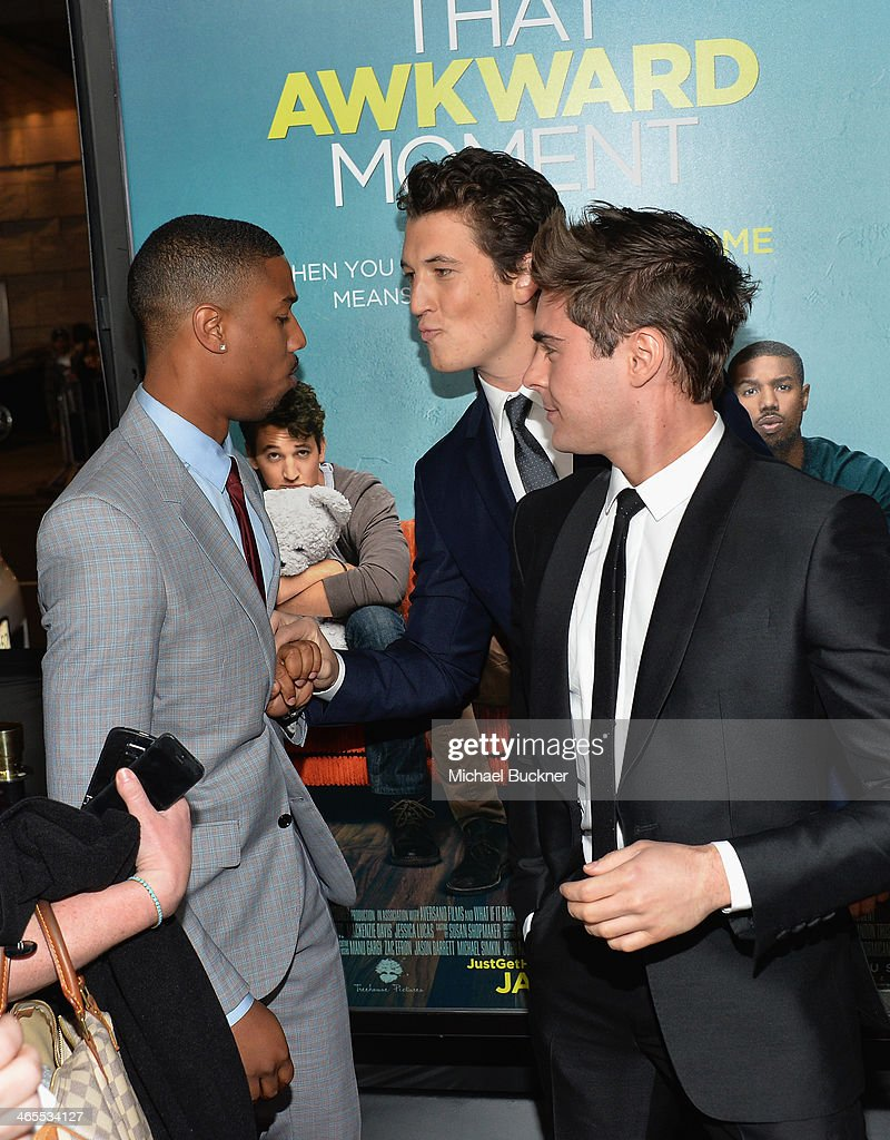 Actor Michael B Jordan actor Miles Teller and actor Zac Efron arrive at the premiere of Focus Features' 'That Awkward Moment' at Regal Cinemas LA...