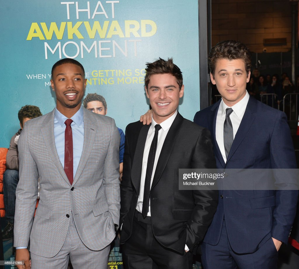 Actor Michael B. Jordan, actor Zac Efron and actor Miles Teller arrive at the premiere of Focus Features' 'That Awkward Moment' at Regal Cinemas L.A. Live on January 27, 2014 in Los Angeles, California.