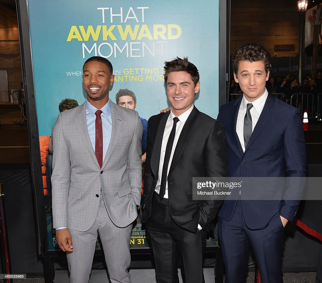 Actor Michael B. Jordan, Actor Zac Efron and actor Miles Teller arrives at the premiere of Focus Features' 'That Awkward Moment' at Regal Cinemas L.A. Live on January 27, 2014 in Los Angeles, California.