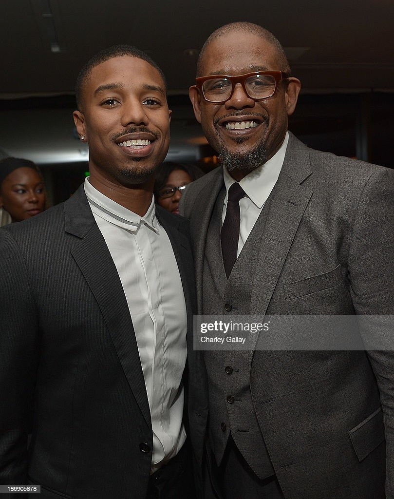Actor Michael B Jordan and actorproducer Forest Whitaker attend the Vanity Fair event honoring Michael B Jordan of 'Fruitvale Station' at Soho House...