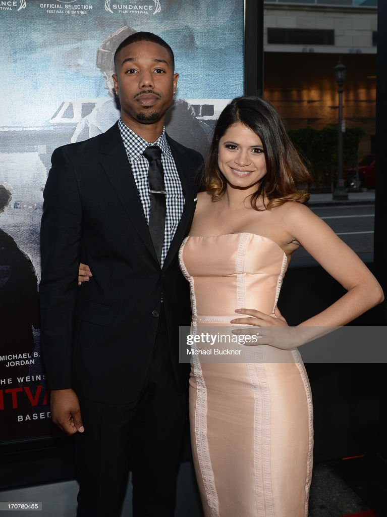 Actor Michael B. Jordan (L) and actress <a gi-track='captionPersonalityLinkClicked' href=/galleries/search?phrase=Melonie+Diaz&family=editorial&specificpeople=3323742 ng-click='$event.stopPropagation()'>Melonie Diaz</a> arrive at the premiere of The Weinstein Company's 'Fruitvale Station' at Regal Cinemas L.A. Live on June 17, 2013 in Los Angeles, California.