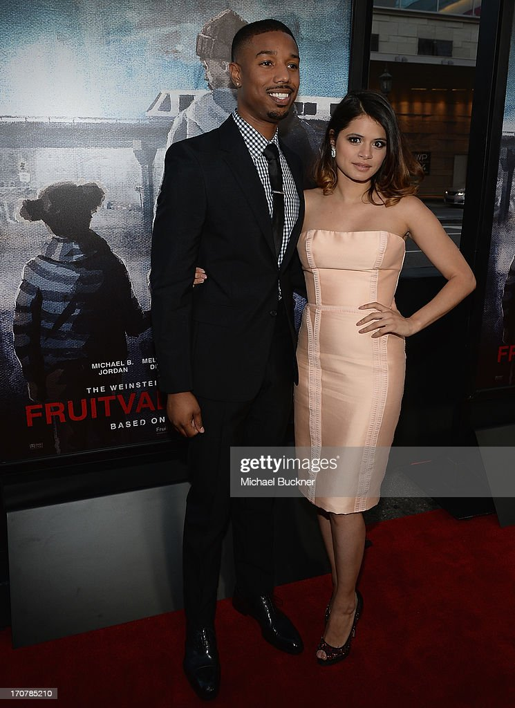 Actor Michael B. Jordan (L) and actress Melonie Diaz arrive at the premiere of The Weinstein Company's 'Fruitvale Station' at Regal Cinemas L.A. Live on June 17, 2013 in Los Angeles, California.