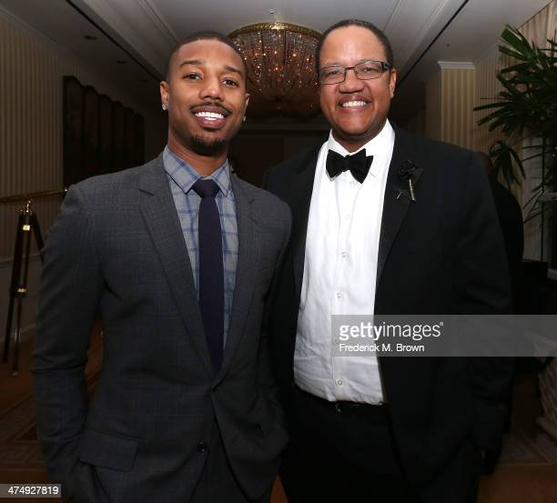 Actor Michael B Jordan and Michael Strautmanis executive Walt Disney Company attend the ICON MANN Second Annual POWER 50 PreOscar Dinner at The...