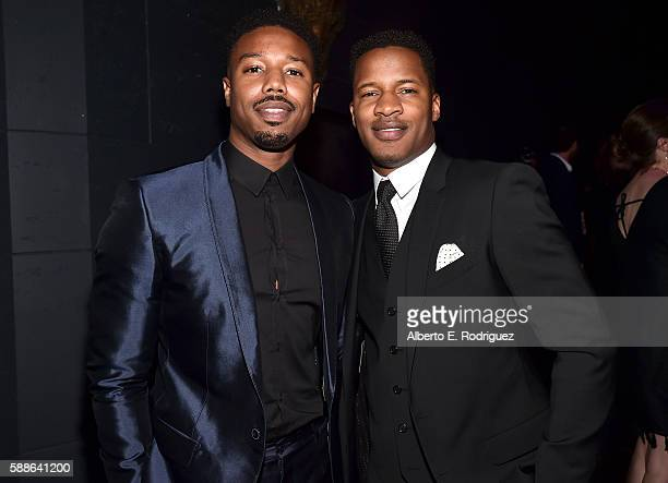 Actor Michael B Jordan and Vanguard Award recipient Nate Parker attend the Sundance Institute NIGHT BEFORE NEXT Benefit at The Theatre at The Ace...