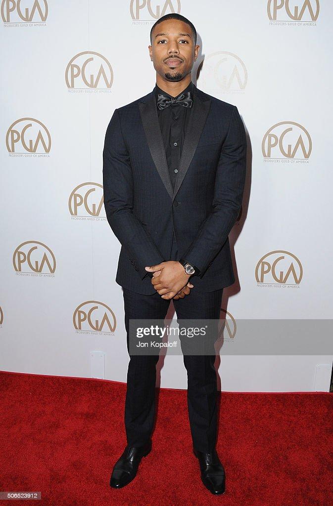 Actor Michael B. Jordan arrives at the 27th Annual Producers Guild Awards at the Hyatt Regency Century Plaza on January 23, 2016 in Century City, California.