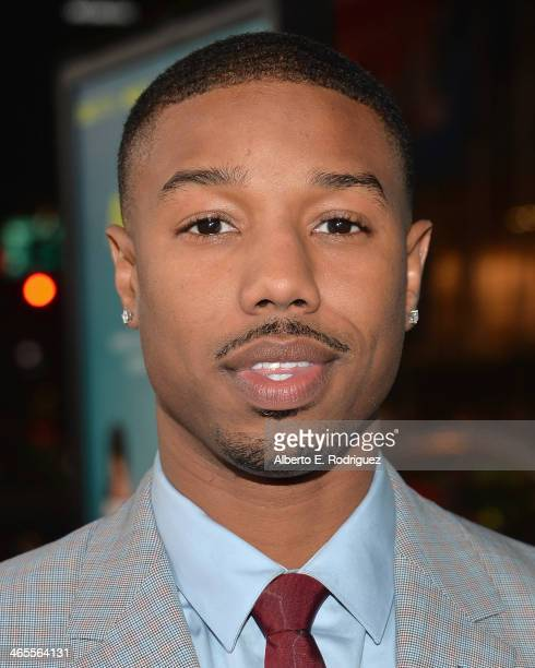 Actor Michael B Jordan arrives to the premiere of Focus Features' 'That Awkward Moment' at Regal Cinemas LA Live on January 27 2014 in Los Angeles...
