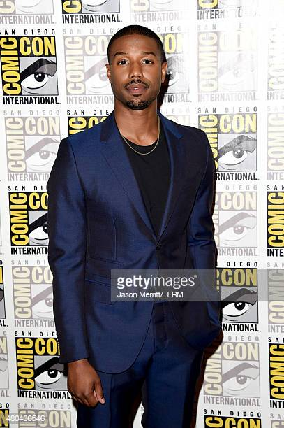 Actor Michael B Jordan attends the 20th Century Fox press room during ComicCon International 2015 at the Hilton Bayfront on July 11 2015 in San Diego...
