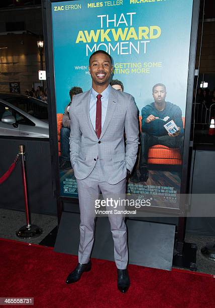 Actor Michael B Jordan attends the Los Angeles Premiere of 'That Awkward Moment' at Regal Cinemas LA Live on January 27 2014 in Los Angeles California
