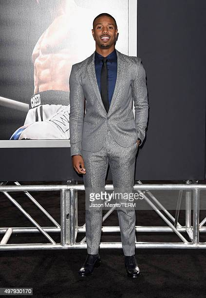 Actor Michael B Jordan attends Warner Bros Pictures' 'Creed' Premiere at Regency Village Theatre on November 19 2015 in Westwood California