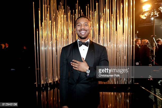 Actor Michael B Jordan backstage at the 88th Annual Academy Awards at Dolby Theatre on February 28 2016 in Hollywood California