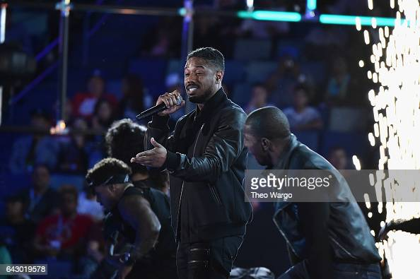 Actor Michael B Jordan performs before the 66th NBA AllStar Game at Smoothie King Center on February 19 2017 in New Orleans Louisiana