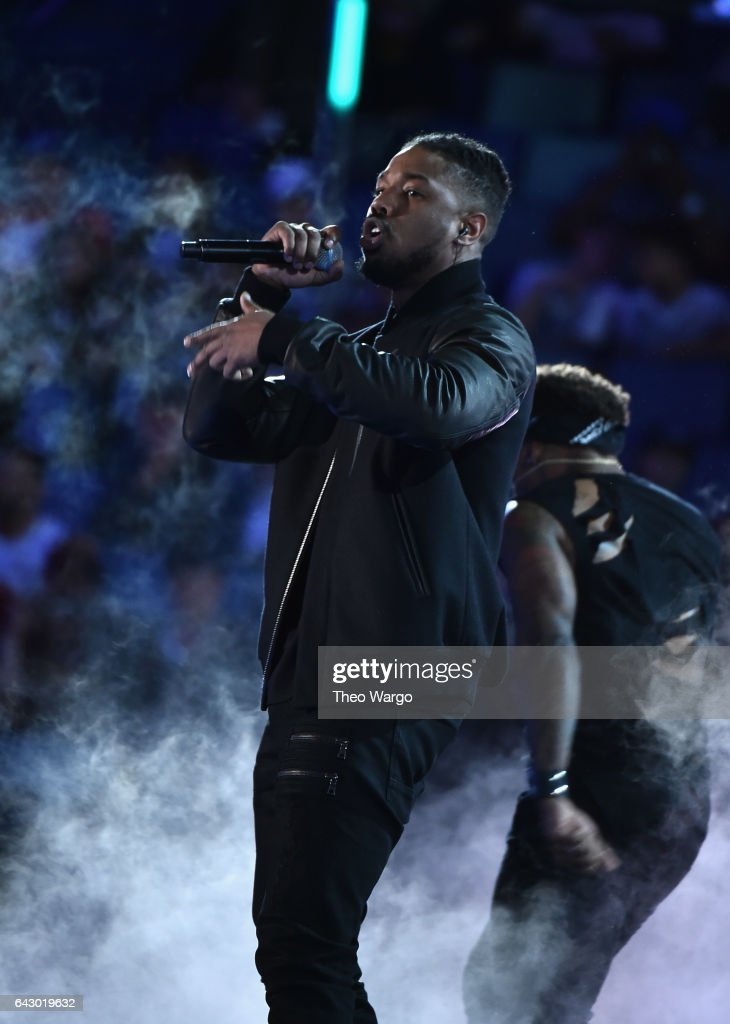 Actor Michael B. Jordan performs before the 66th NBA All-Star Game at Smoothie King Center on February 19, 2017 in New Orleans, Louisiana.