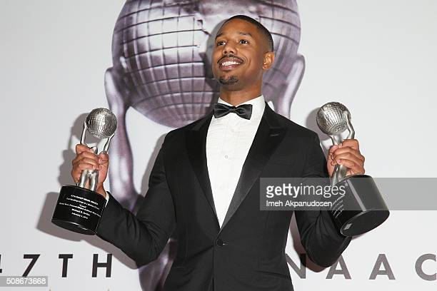 Actor Michael B Jordan poses in the press room during the 47th NAACP Image Awards presented by TV One at Pasadena Civic Auditorium on February 5 2016...