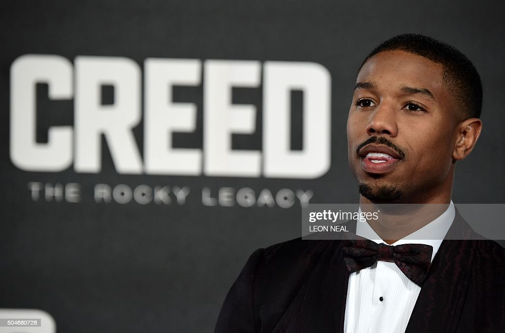 US actor Michael B Jordan poses on arrival for the European premiere of Creed in London on January 12 2016 NEAL