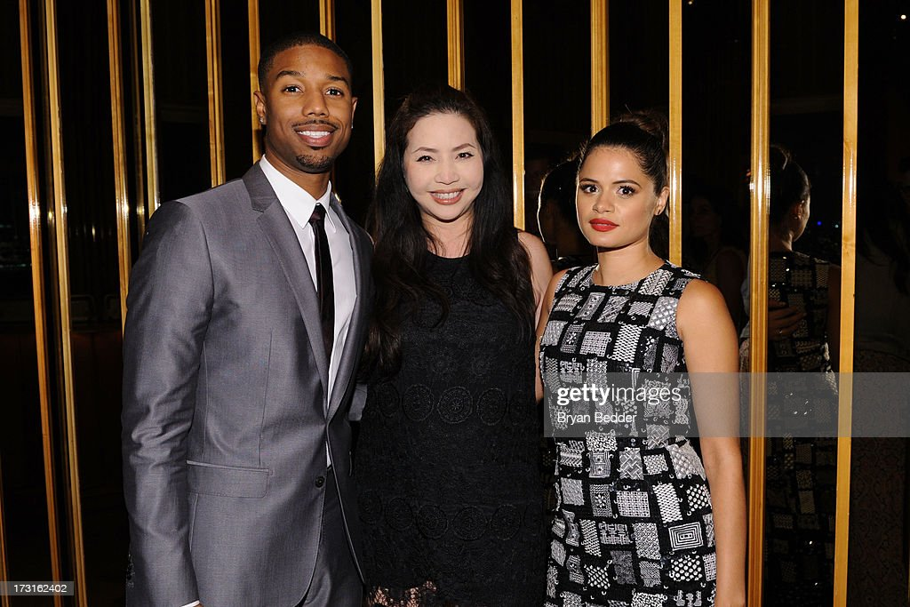 Actor Michael B. Jordan, producer Nina Yang Bongiovi and actress Melonie Diaz attend the after party at the New York premiere of FRUITVALE STATION, hosted by The Weinstein Company, BET Films and CIROC Vodka on July 8, 2013 in New York City.