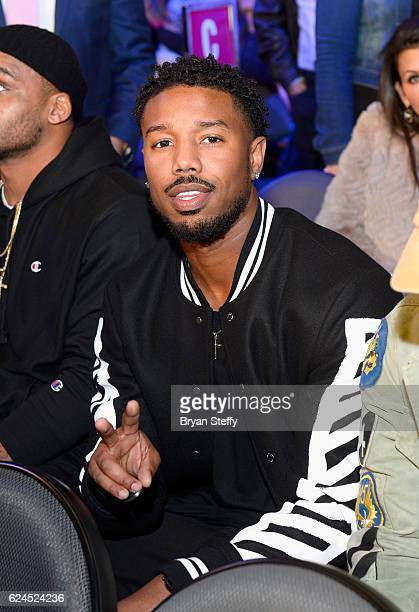 Actor Michael B Jordan sits in the audience during Kovalev vs Ward and D'USSE Lounge at TMobile Arena on November 19 2016 in Las Vegas Nevada
