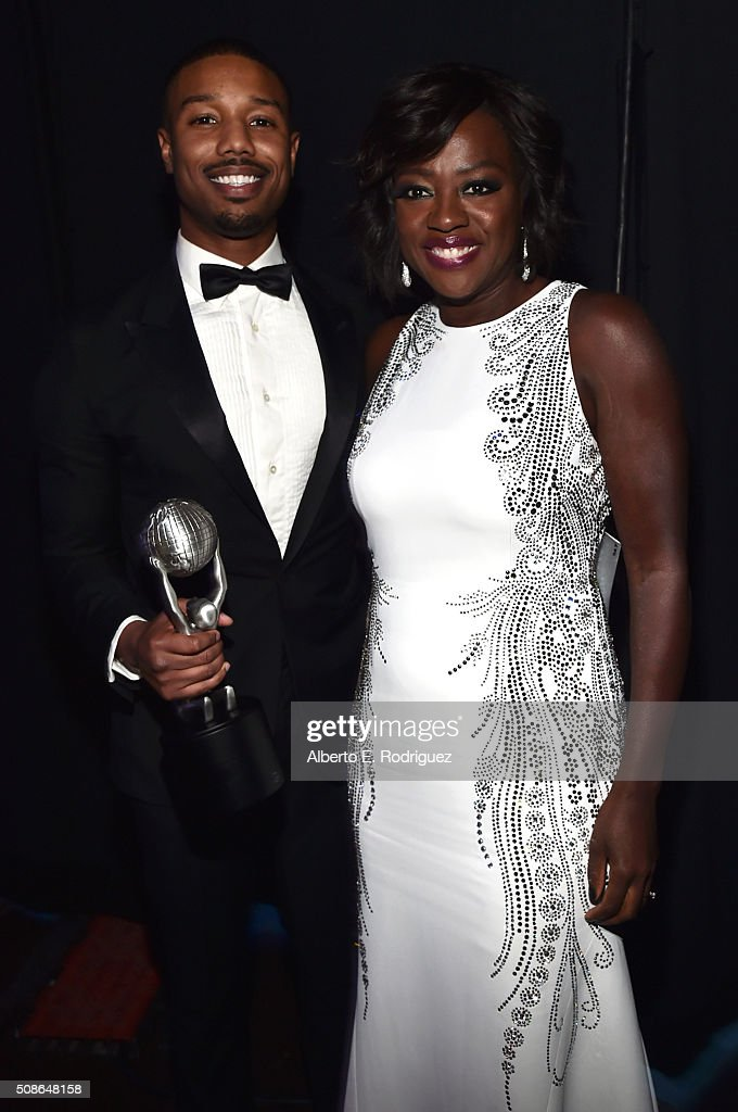 Actor Michael B Jordan winner of the award for Oustanding Actor in a Motion Picture for 'Creed' and actress Viola Davis attend the 47th NAACP Image...
