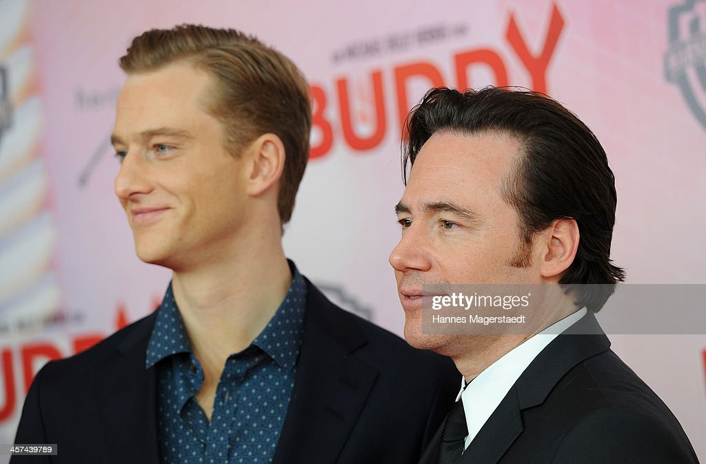 Actor Michael Bully Herbig and actor Alexander Fehling attend 'Buddy' Premiere at Mathaeser Filmpalast on December 17, 2013 in Munich, Germany.