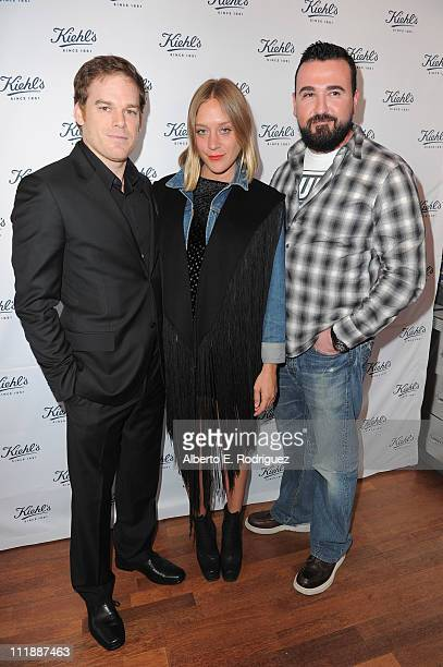 Actor Michael C Hall actress Chloe Sevigny and Kiehl's USA president Chris Salgardo attend the launch of Kiehl's 'Rare Earth Deep Pore Cleansing...