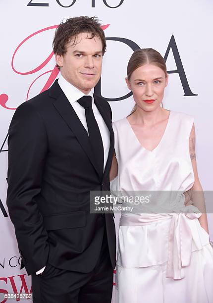 Actor Michael C Hall and Morgan Macgregor attend the 2016 CFDA Fashion Awards at the Hammerstein Ballroom on June 6 2016 in New York City