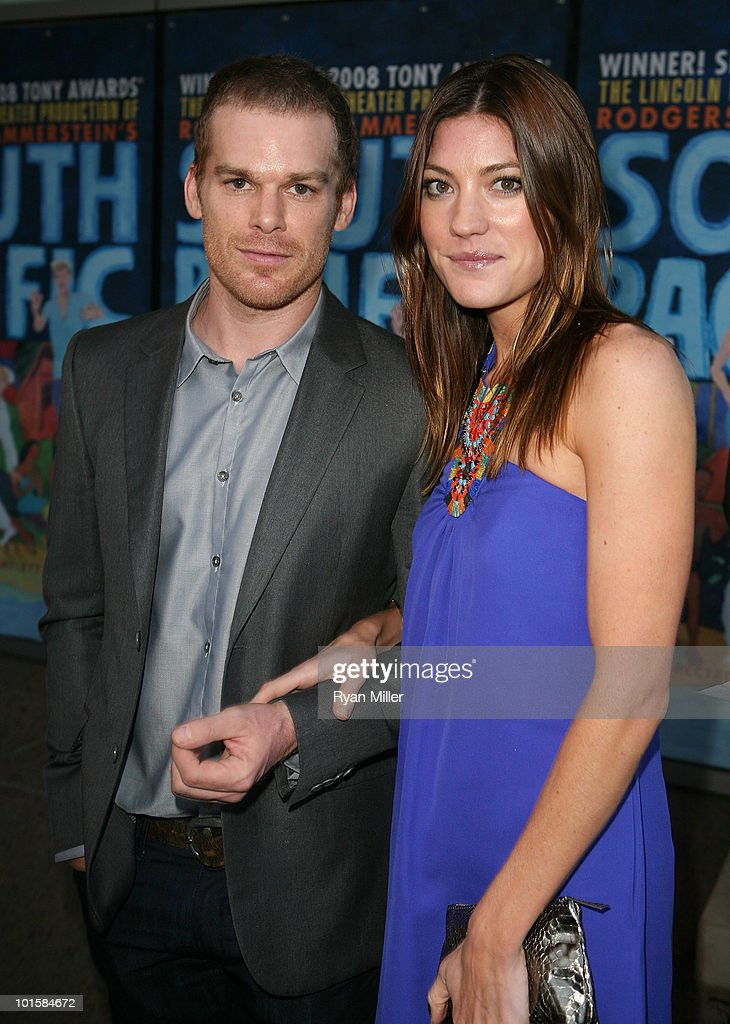 Actor Michael C Hall and wife actress Jennifer Carpenter pose during the arrivals for the opening night performance of 'South Pacific' at the Center...