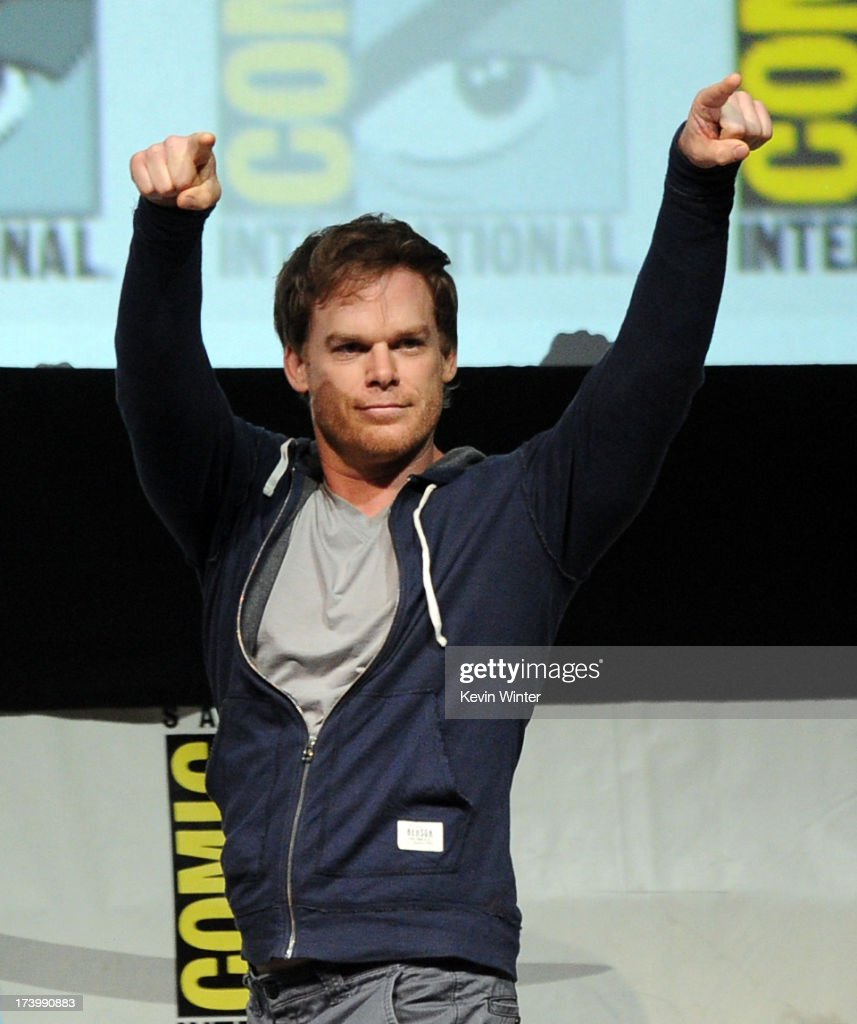 Actor <a gi-track='captionPersonalityLinkClicked' href=/galleries/search?phrase=Michael+C.+Hall+-+Actor&family=editorial&specificpeople=680229 ng-click='$event.stopPropagation()'>Michael C. Hall</a> speaks onstage at Showtime's 'Dexter' panel during Comic-Con International 2013 at San Diego Convention Center on July 18, 2013 in San Diego, California.