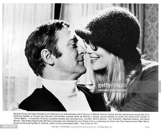 Actor Michael Caine and actress Cybill Shepherd on set the movie 'Silver Bears' circa 1977