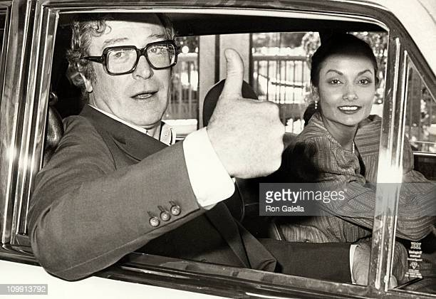 Actor Michael Caine and wife Shakira Caine attend Academy of Motion Picture Arts and Sciences Lucheon on March 20 1984 at the Beverly Hilton Hotel in...