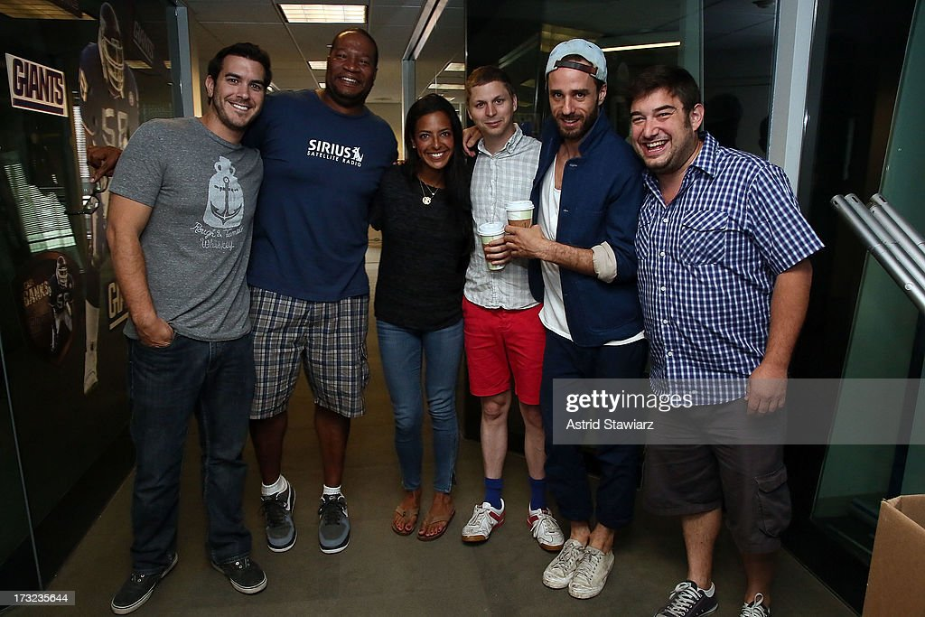 Actor <a gi-track='captionPersonalityLinkClicked' href=/galleries/search?phrase=Michael+Cera&family=editorial&specificpeople=226654 ng-click='$event.stopPropagation()'>Michael Cera</a> and (2nd from right) director <a gi-track='captionPersonalityLinkClicked' href=/galleries/search?phrase=Sebastian+Silva&family=editorial&specificpeople=5671020 ng-click='$event.stopPropagation()'>Sebastian Silva</a> pose with 'The Morning Mash Up's' Rich Davis, Stanley T. Evans, Nicole Biggins and Ryan Sampson visit the SiriusXM Studios on July 10, 2013 in New York City.