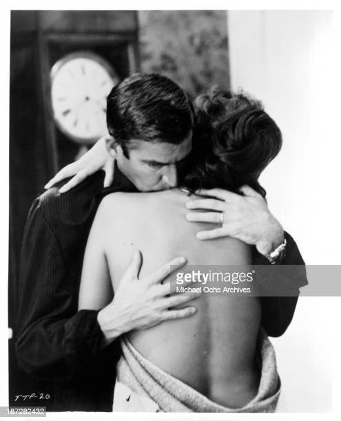 Actor Michael Craig and actress Claudia Cardinale on set of the movie 'Sandra' in 1965