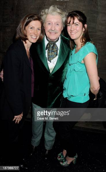 Actor Michael Crawford celebrates his 70th birthday backstage with daughters Emma and Lucy following a performance of 'The Wizard Of Oz' at the...
