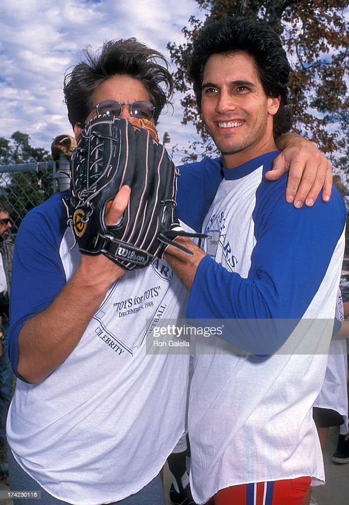 Actor Michael Damian and actor Don Diamont attend the Celebrity Softball Game to Benefit Toys for Tots on December 4 1988 at Victory Park in Pasadena...