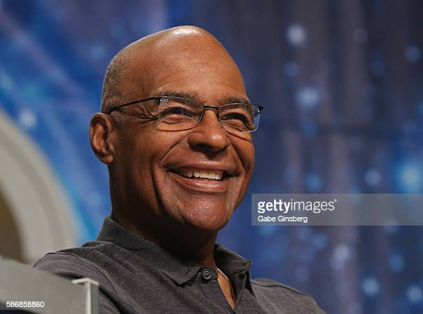 Actor Michael Dorn speaks during the 'Star Trek The Next Generation Stars Part 3' panel at the 15th annual official Star Trek convention at the Rio...
