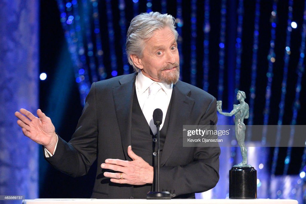 Actor Michael Douglas accepts the Outstanding Performance by a Male Actor in a Miniseries or Television Movie award for 'Behind the Candelabra'...