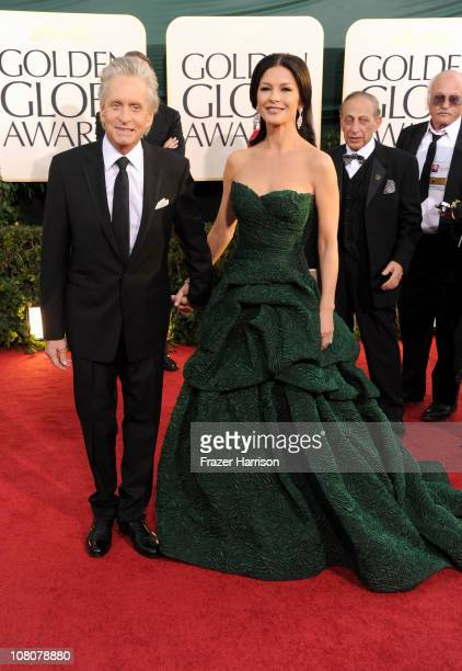 Actor Michael Douglas and actress Catherine ZetaJones arrives at the 68th Annual Golden Globe Awards held at The Beverly Hilton hotel on January 16...