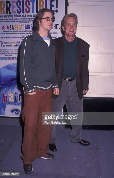 Actor Michael Douglas and Cameron Douglas attend a performance of Hairspray on October 23 2002 at the Neil Simon Theater in New York City