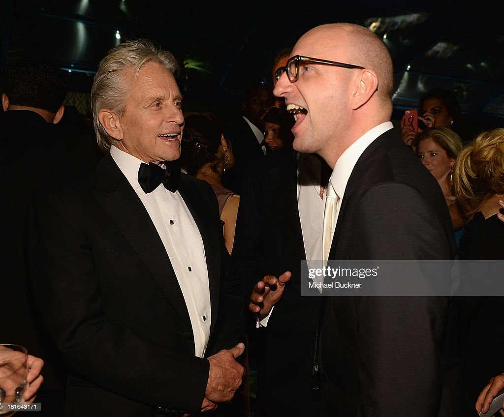 Actor Michael Douglas (L) and director Steven Soderbergh attend the HBO Emmy After Party at The Plaza at the Pacific Design Center on September 22, 2013 in Los Angeles, California.