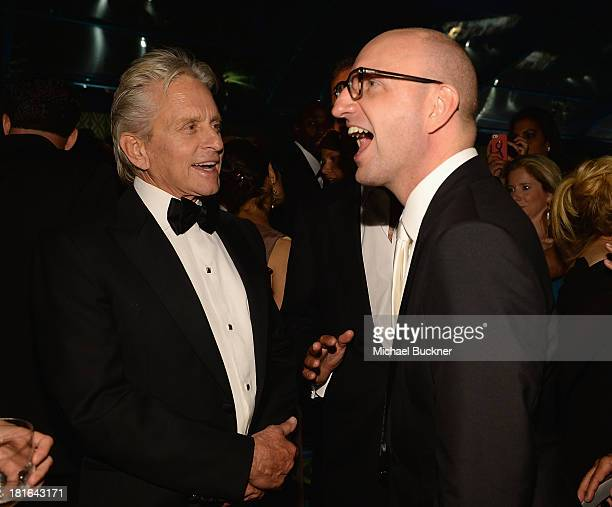 Actor Michael Douglas and director Steven Soderbergh attend the HBO Emmy After Party at The Plaza at the Pacific Design Center on September 22 2013...