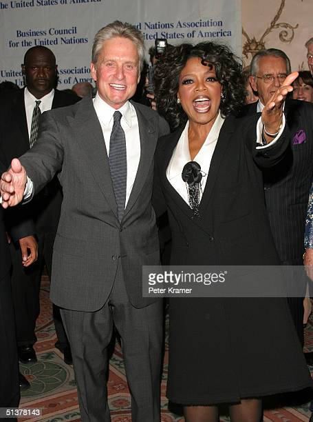 Actor Michael Douglas and International Philanthropist Oprah Winfrey make an appearance at The Waldorf Astoria where she was honored by the United...