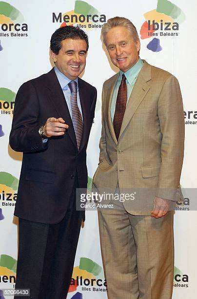 Actor Michael Douglas and Jaume Matas President of Baleares Government attend a promotional photocall for Mallorca Island at FITUR on January 26 2005...