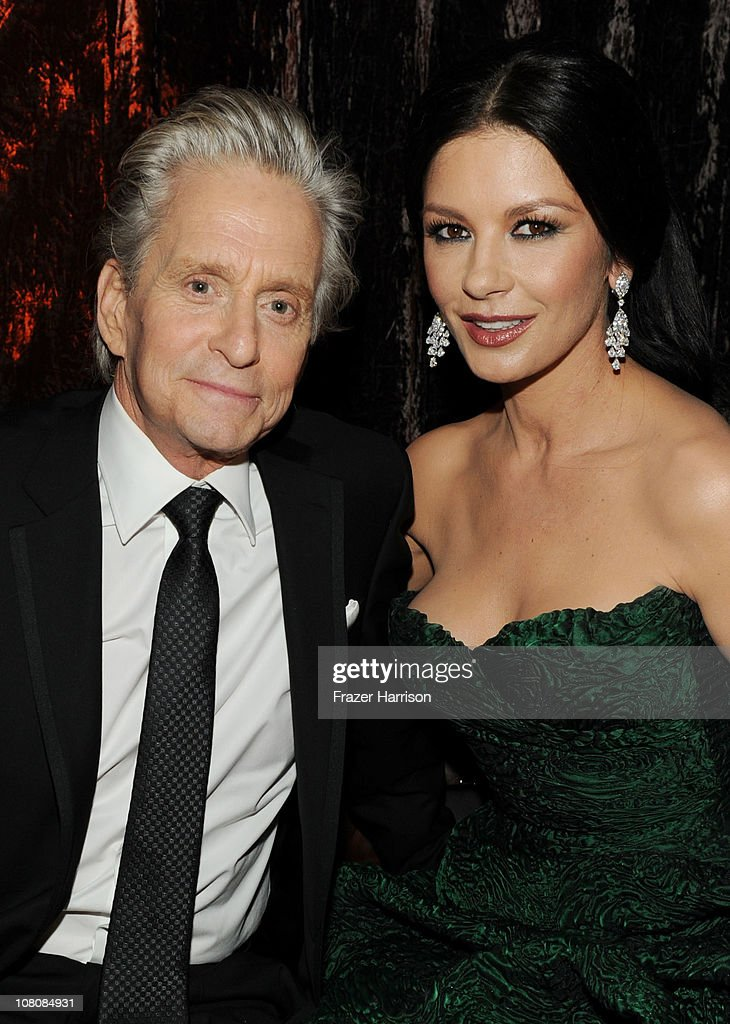 Actor <a gi-track='captionPersonalityLinkClicked' href=/galleries/search?phrase=Michael+Douglas&family=editorial&specificpeople=171111 ng-click='$event.stopPropagation()'>Michael Douglas</a> (L) and wife actress <a gi-track='captionPersonalityLinkClicked' href=/galleries/search?phrase=Catherine+Zeta-Jones&family=editorial&specificpeople=167111 ng-click='$event.stopPropagation()'>Catherine Zeta-Jones</a> attend Relativity Media and The Weinstein Company's 2011 Golden Globe Awards After Party presented by Marie Claire held at The Beverly Hilton hotel on January 16, 2011 in Beverly Hills, California.