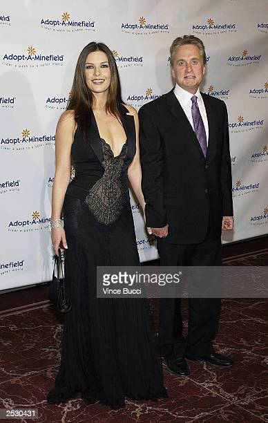 Actor Michael Douglas and wife actress Catherine ZetaJones attend the third Annual AdoptAMinefield Benefit Gala at the Beverly Hilton Hotel on...