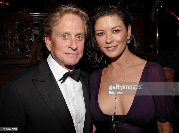 Actor Michael Douglas and wife and actress Catherine ZetaJones at the Elie Wiesel Foundation for Humanity to Honor French President Nicolas Sarkozy...