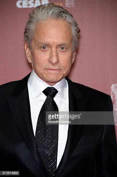 Actor Michael Douglas arrives at The Cesar Film Awards 2016 at Theatre du Chatelet on February 26 2016 in Paris France