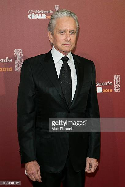 Actor Michael Douglas arrives to attend the 'Cesars Film Awards 2016' ceremony at Theatre du Chatelet on February 26 2016 in Paris France